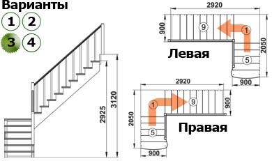 Лестница  К-002м/3  Л  сосна (5 уп)