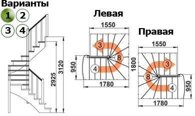 Лестница  К-003м/1 П сосна с подступенками (6 уп)